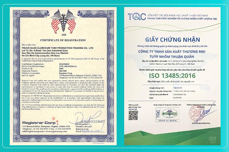 Các giấy chứng nhận an toàn của cốc nguyệt san BeUCup