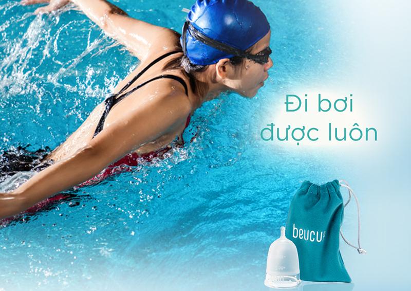 Thoải mái bơi lội khi sử dụng cốc nguyệt san BeUcup