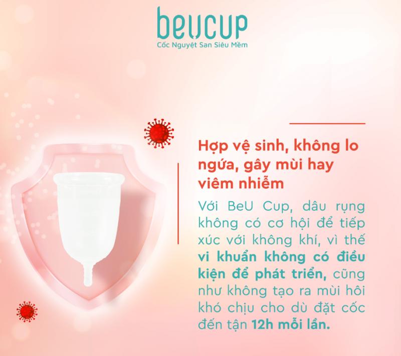 cốc nguyệt san BeU cup hợp vệ sinh, không lo ngứa, gây mùi hay viêm nhiễm