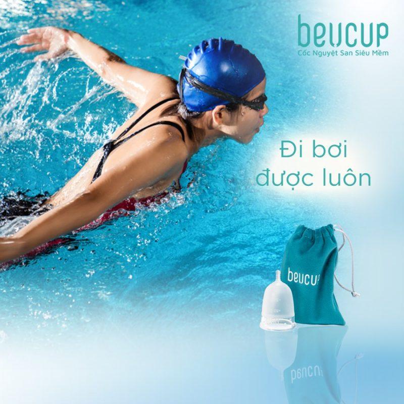 Sử dụng cốc nguyệt san BeU Cup đi bơi sẽ chống rò rỉ